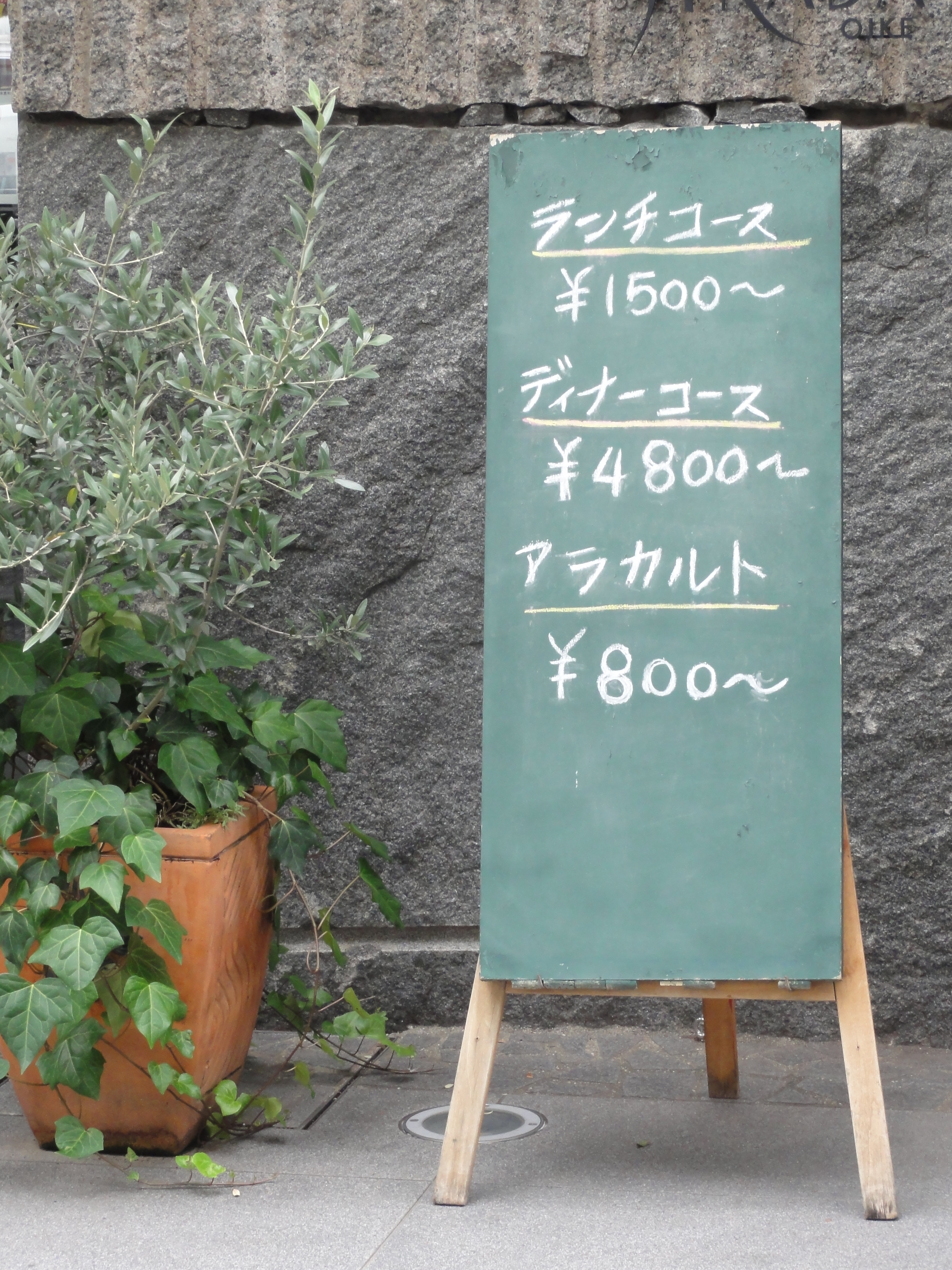 Restaurant's sign in katakana Japanese alphabet